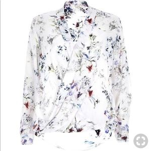 River Island white floral crossover blouse